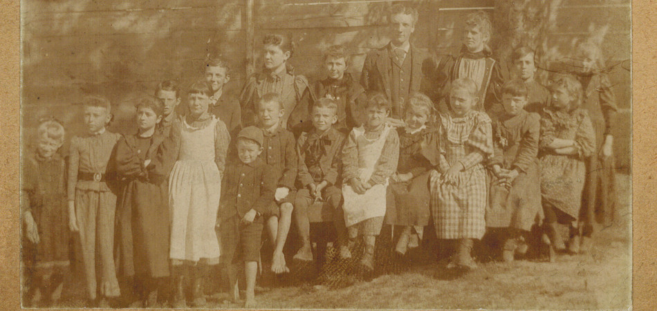 Teacher Mary Edith DePue and class about 1895. Image from Mr. William Greenberg.